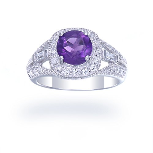 Sterling Silver Amethyst Ring 0.85 CT Size 8