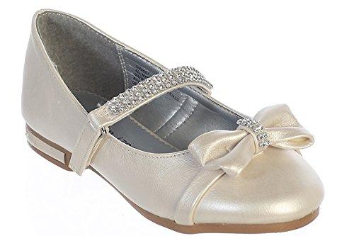 Gwen & Zoe GZ5501 White Low Heel w/Rhinestone Strap & Bow (2, Ivory) ()
