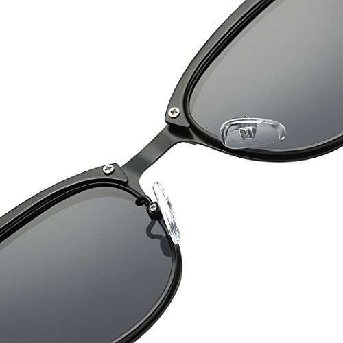 43149cfeb6 Kimorn Polarized Sunglasses Semi-Rimless Metal Frame Classic Sun Glasses  K0558 (Gold Black)