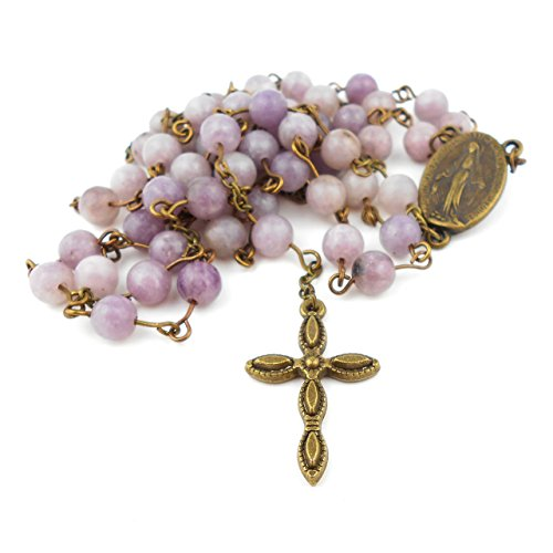 amethyst-lilac-quartz-rosary-with-five-decade-pattern-and-miraculous-medal-in-antique-bronze-colour