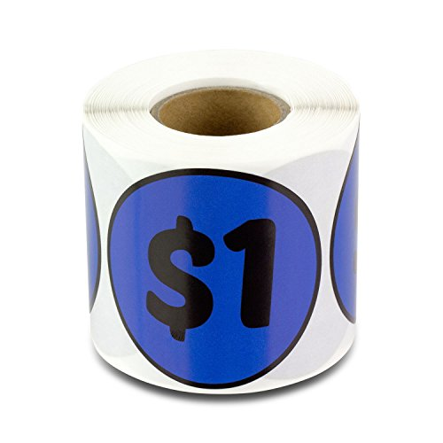 $1 One Dollar 2 Round Prepriced Garage Yard Sale Labels Stickers (Navy / 300 labels per roll / 1 roll)