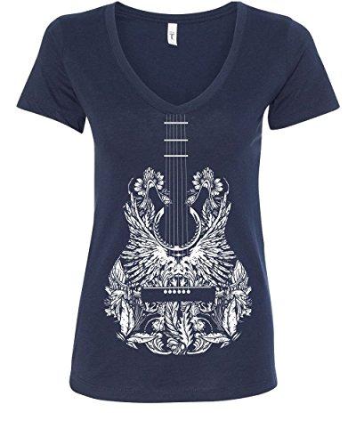 V-neck T-shirt Womens Guitar - Bandana Guitar Women's V-Neck T-Shirt Music Rock & Roll Legend Rock Star Navy Blue M