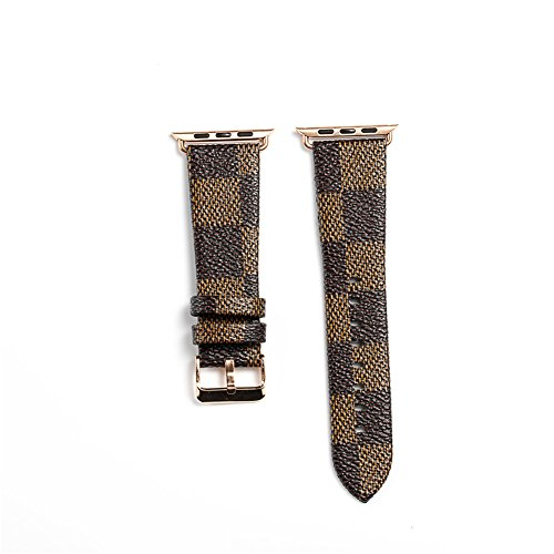 for Apple Watch Band PU Leather Iwatch Strap Replacement Plaid Grain Band iwatch Accessories with Stainless Metal Classic Buckle for Apple Watch Series 3 Series 2 1 (Brown 42mm) (Online Gucci Store)
