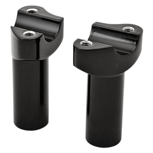 (HardDrive Forged Black Straight Handlebar Risers with 3.5in. Rise for Harley Da - One Size)