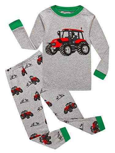 Little Boys Long Sleeve Tractor Pajamas Sets 100% Cotton Sleepwears Toddlers Kids Pjs Size 4T Green/Gray