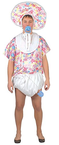 Mens Adult Floral Big Baby Stag Do Night Funny Fancy Dress Costume Outfit  (Men: Medium)