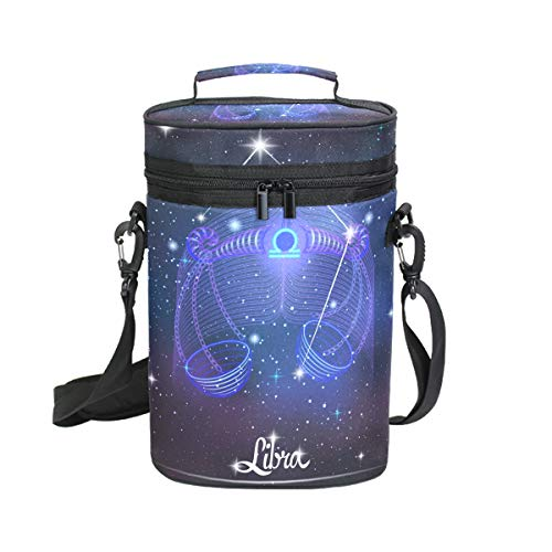 Constellation Zodiac Sign Libra Insulated Wine Tote Carrier - 2 Bottle Travel Padded Wine Cooler Bag with Handle and Adjustable Shoulder Strap
