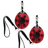 Odowalker Personal Alarms for Women Pack of 2 Keychain 130dB Safesound Lady Bug Personal Alarm for Women,Elderly and Kids Self Defense Electronic Device Emergency Survival Bag Decor