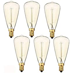 Vintage Edison Light Bulbs (E12 Base 60W 110V),Teardrop Warm White Nostalgic Tungsten Filament,E12 Candelabra Base Incandescent Lamp Squirrel Cage Style Bulbs ST48, Dimmable,6-pack
