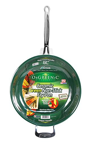 Orgreenic 12 in Frying Pan Ceramic Cookware - Cook Delicious Healthy Recipes the Safe Way