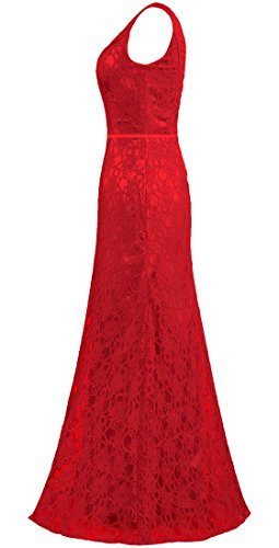 Red Neck Gowns Lace Long ANTS Bridesmaid V Dresses Women's Sleeveless vq08nWgzS