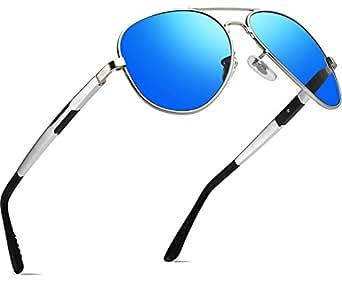 ATTCL Hombres Polarizadas Aviador Gafas De Sol Marco de medios 16695 Azul