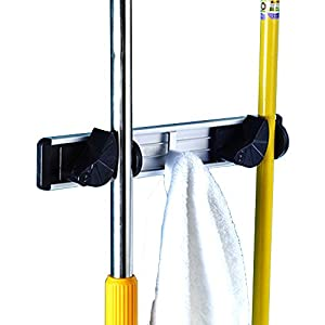 Eco Friendly Aluminum 2 Position Flexible Mop And Broom Organizer Rack Wall  Mount W/ 3 Retractable Hooks