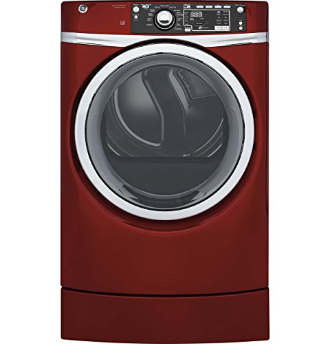 GE GFD49ERPKRR Right Height Electric Steam Dryer, 8.3 Cu. Ft. Capacity, Red,
