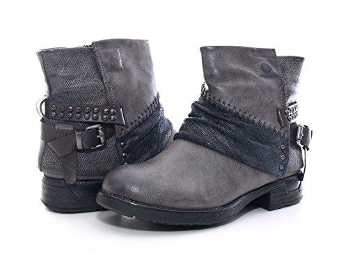 Damen Winter Stiefelette Boots Grau warm gefüttert # 283