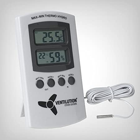 PuGrow digitales Min//Max in//out Hygro-//Thermometer