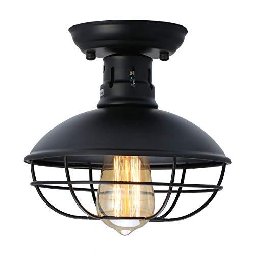 LMSOD Industrial Vintage Metal Black Ceiling Light, Creative Retro Pendant Lights 1 Light Fixture Semi Flush Mount Pendant Lamp