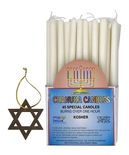 "Chanukah Candles All White 45 Candles Per Box Kosher Made in Israel Each Box Includes One 2"" Wooden Star of David"