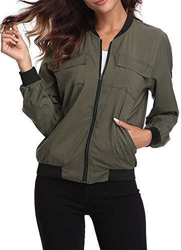 MISS MOLY Women's Lightweight Jackets Zip up Coat Rib Collar Multi-Pockets Summer Windbreaker Bomber Jacket Outwear