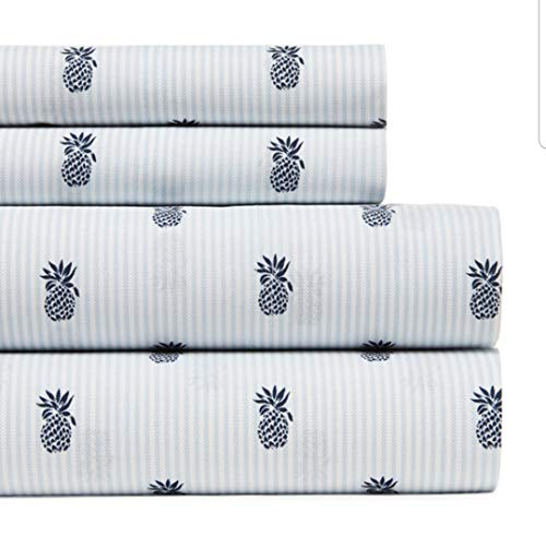 (Tommy Hilfiger Queen Sheet Set Pineapple Blue White Ithaca Stripe)