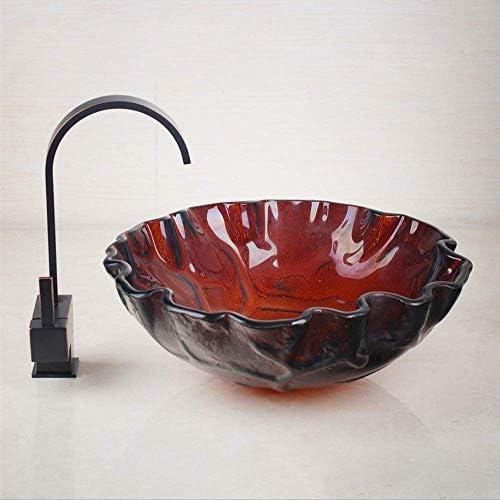 ゆば 強化ガラスの表面浴室のシンク&スイベルブラック塗装の蛇口洗面洗面盆地エンボスラウンドシンクセット