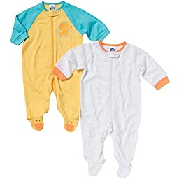 Gerber Baby Boys\' 2 Pack Zip Front Sleep \'N Play, Duck, 0-3 Months
