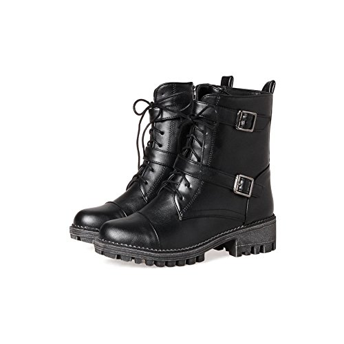 Retro Resistant Slip M ABL10153 Boots US Black BalaMasa B Womens Platform 8 Buckle Urethane CcqW5F