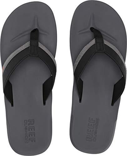 REEF Men's Contoured Cushion Sandal, Grey/Orange, 070 M US