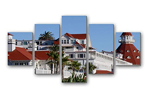 GLITZFAS PRINTS 5 Panel Wall Art Painting - The Hotel del Coronado san Diego California United States - Canvas Stretched with Wooden Frame for Home Decor (12