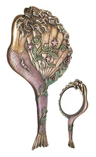 Decorative Sirens of The Seas Maiden Mermaid Sleeping Art Nouveau Hand Mirror Figurine Vanity Accessory For Nautical Decor Coastal Sculpture