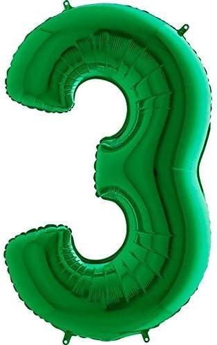 Art/ículos de fiesta GRABO Decoraci/ón del globo del n/úmero verde gigante 3