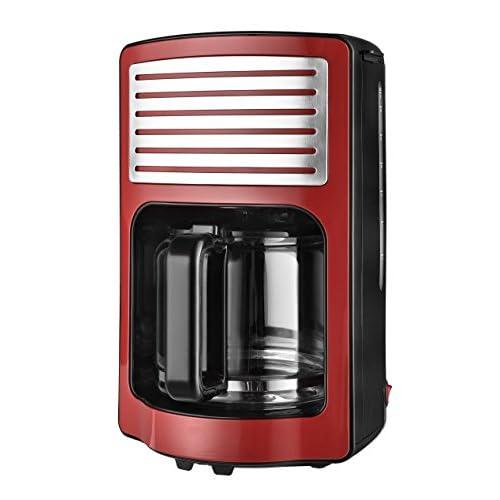 TKG Machine à Café Filtre Design de Couleur 1.8 L (15 Tasses) W, 1000 W, 1.8 Liters, Rouge