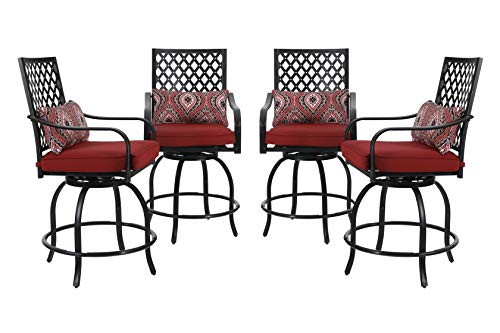 """PHI VILLA Outdoor Swivel Bar Stools Bar Height Patio Chairs, Set of 4 Bistro Dining Chairs Garden Furniture Sets All Weather Metal Frame with Cushion - Dimension: seat height 24"""" with padded cushion, seat width 23"""", back height 19.5"""", high seat and high back design provide a comfortable seat space for different body size Weather-Resistant: Our swivel bar stool chair made of sturdy metal steel frame with rust resistant powder coating and easy to clean water resistant padded cushion Outdoor & Indoor Occasion: Our swivel chairs is not only suitable for outdoor garden lawn patio pool coffee time but also suitable for indoor kitchen living room dinner time - patio-furniture, patio-chairs, patio - 412yOYjUs7L -"""