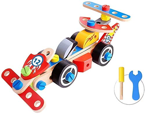 Pidoko Kids Take Apart Toys with Tools (72 Pcs) - STEM Learning Toy Racing Car Vehicles - Educational Engineering Wooden Building Play Set For Boys & Girls Toddlers Age 3 and up (Racing Car) ()