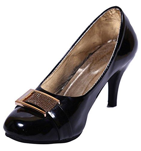 John Sparrow Elegante zapatos de tacón alto de las mujeres de la sandalia del vientre de calzado casual - Elija el tamaño Negro