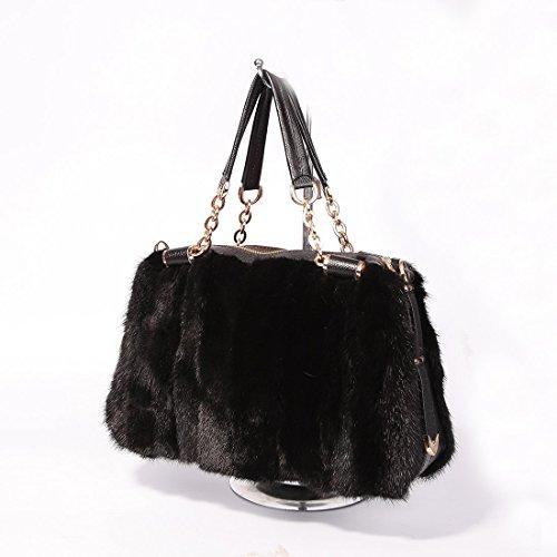 URSFUR Sac à Main/Cabas pour Femme en Fourrure Complet de Vison(couleur noir)