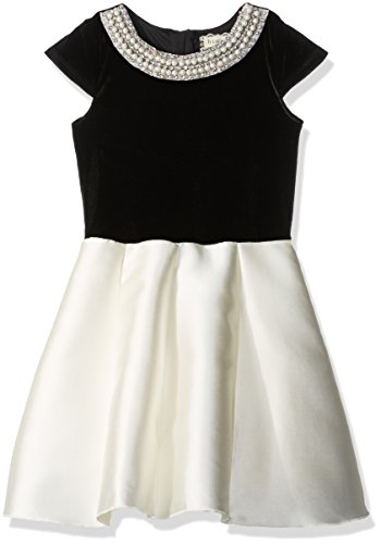 (BTween Girls' Big Holiday Dress with Velvet Top and Pearl Embellishment, Black/Ivory,)