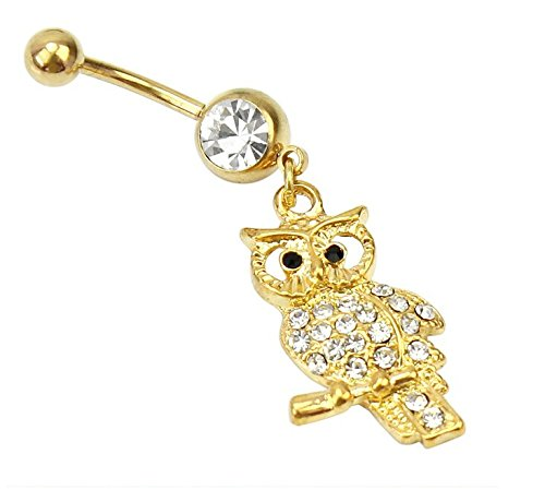 Crystal Belly Owl - Ecloud ShopUS® Rhinestone Crystal Stainless Steel Owl Design Dangle Belly Ring Body Piercing
