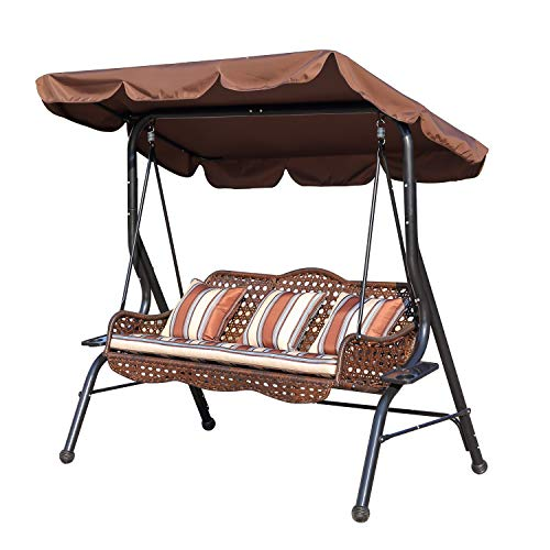 soges Outdoor Deluxe Handmade Rattan Porch Swing, Large Canopy Sling Chair 3 Seats with Cushion & Pillow, Patio Backyard Awning, RL-QQJ-2025
