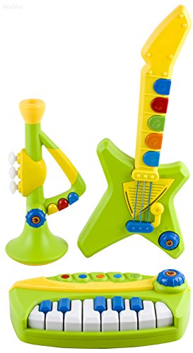 WolVol Kids Full Band Electronic Toy Musical Instruments with Colorful Lights, Piano Keyboard, Guitar, Trumpet