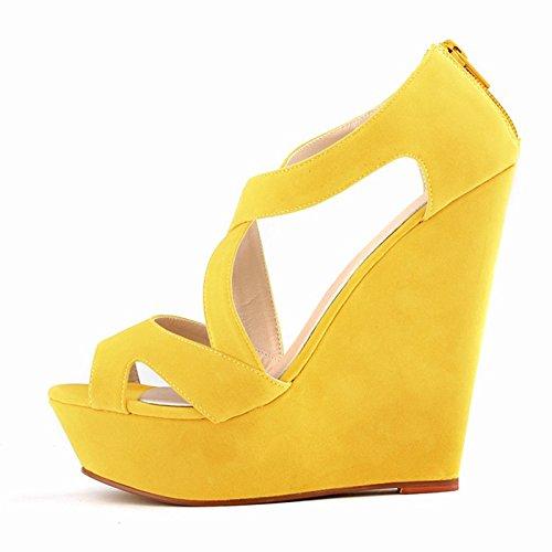 Sandalias de tacon alto - TOOGOO(R)zapatos ocasionales de tacon alto de mujer de boda con plataforma zapatos de botines amarillo 35
