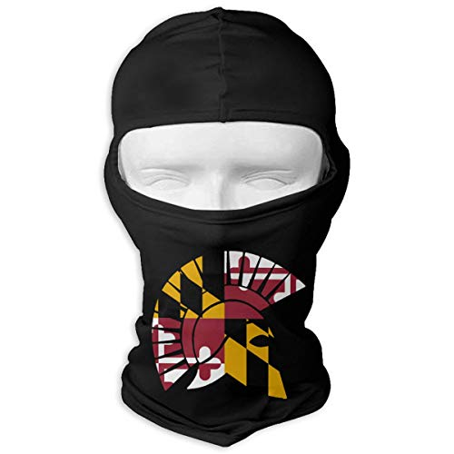 (Flag of Maryland Spartan Helmet Full Face Mask Hood,Outdoor Cycling Ski Motorcycle Balaclava Mask Black)