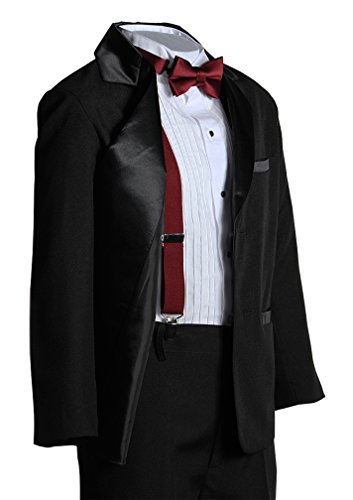 Boys Two Button Notch Tuxedo with Burgundy Suspender Bow Tie Set from Tuxgear
