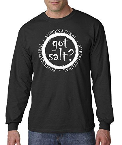 New Way 298 - Unisex Long-Sleeve T-Shirt Got Salt Supernatural Funny Parody Large Black -
