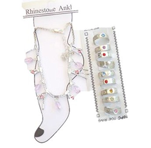 Silver Plated Gita Anklet Chain Ten Toe Rings for New Brides and Teens