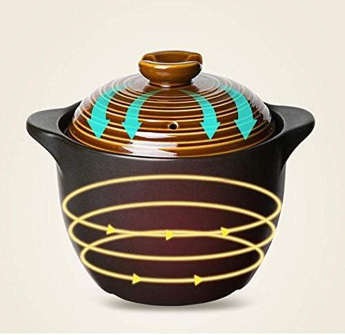ZJZ Batterie de Cuisine Casserole en Terre Cuite avec couvercles Casserole en céramique - Résistant aux Hautes températures, 3,5 L