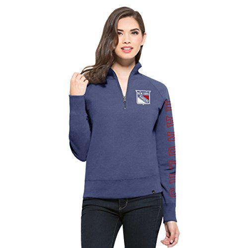 NHL New York Rangers Women's '47 Shimmer Cross-Check 1/4-Zip Fleece Pullover, Small, Bleacher Blue
