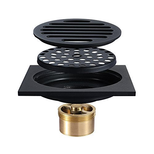 Tile Insert Square Shower Floor Drain 4-Inch Pure Cupper Black Grate Strainer With Removable Cover, Anti-Clogging For Kitchen Bathroom Washroom Garage Basement by YJZ