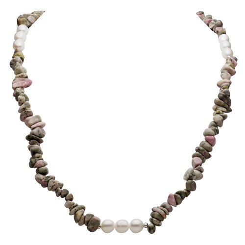 La Regis Jewelry Simulated Quartz Unakite Chips and 8-8.5mm White Freshwater Cultured Pearl Endless Necklace, 36