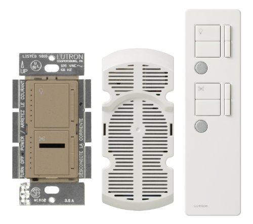 Lutron Maestro IR Fan Control and Light Dimmer for incandescent and halogen bulbs, with IR Remote Control, Single-Pole or Multi-Location, MIR-LFQMT-MS, Mocha Stone